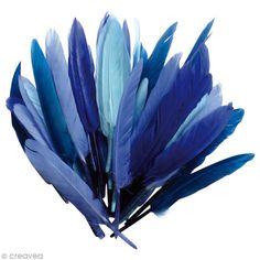 Plumes Indien Camaïeu bleu - 15 cm - 10 gr, Référence 00050512, Ces plumes indiennes de couleur Camaïeu bleu seront parfaites pour embellir vos décorations, vos costumes, vos déguisements, etc. Ce lot contient environ 40 plumes de 15 cm.Avec douceur et élégance, ces plumes Camaïeu bleu apporteront également une touche de raffinement à vos déco de table, vos faire-part, vos luminaires et vous pourrez même les utiliser pour d'autres créations :