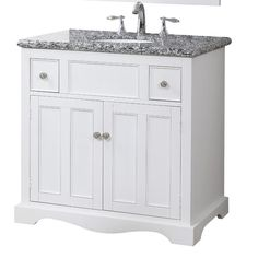"""Crawford & Bourke Melanie Vanity $549.95 ength - Side to Side: 15.75 Width - Front to Back: 10.5 Overall: 35.5"""" H x 35"""" W x 21"""" D Marble top: 35"""" x 21"""" x 1.5"""" Wood base: 35"""" x 21"""" x 34"""" Overall Product Weight: 73.01 lbs"""