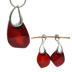 Cherry amber pieces and sterling silver. Chunky jewellery set. #amberslices #largejewellery #chunkyjewellery #bigjewellery #darkamberjewellery #amberjewellery