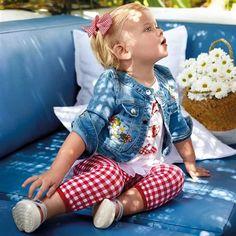 Mayoral Kız Bebek Yazlık Nakışlı Denim Ceket Kot Mavisi