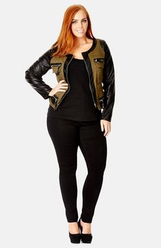 I need to stock up on some awesome jackets for the fall & winter. City Chic 'Army' Mixed Media Utility Jacket (Plus Size) available at #Nordstrom