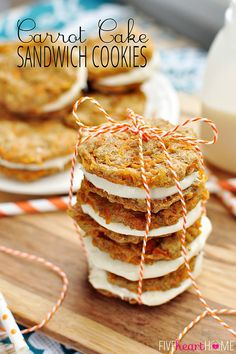 Carrot Cake Sandwich Cookies ~ mini carrot cake whoopie pies filled with cream cheese frosting make an easy, hand-held Easter dessert | FiveHeartHome: