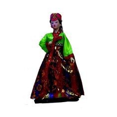 Ancient Korea Humanoid Girl Statue Doll Hanbok Handiwork Collectibles car decor