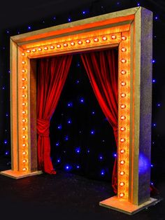 Illuminated Bulb Entranceway - Red Bulbs With Red Curtain | Bollywood Theme | Event Prop Hire