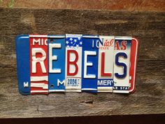Ole Miss REBELS Hotty Toddy recycled license plate art sign tomboyART Oxford William Faulkner Rebel