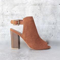vegan suede sling back chunky peep toe heels - more colors - 7 / chestnut