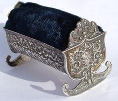 Antique 1886 Sterling Silver Pin Cushion Queen Victorias Armorial Rocking Cradle | eBay
