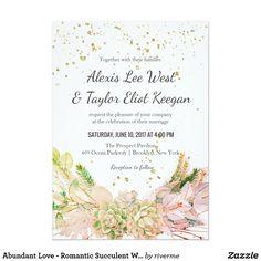 Abundant Love - Romantic Succulent Wedding Invites