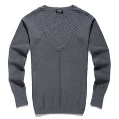Deep V-Neck Pure Color Long-Sleeved Slim Man Sweater