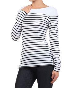 Ivory & Black Stripe Boatneck Top | zulily