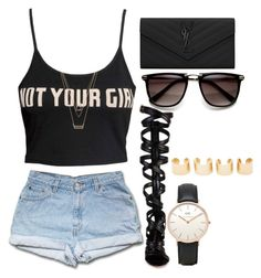 """Untitled #975"" by kgoldchains ❤ liked on Polyvore featuring Forever 21, Gianvito Rossi, Yves Saint Laurent, Daniel Wellington, Maison Margiela, cute, denim and beautiful"