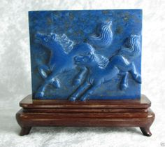 Chinese Carved Natural Lapis Plaque Screen Horse Wood Stand 3.25x 2 11/16in 145g
