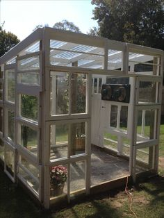 Greenhouse shed, greenhouse gardening, old window greenhouse, small gre Build A Greenhouse, Greenhouse Gardening, Greenhouse Ideas, Old Window Greenhouse, Greenhouse Heaters, Large Greenhouse, Outdoor Greenhouse, Greenhouse Wedding, Outdoor Projects