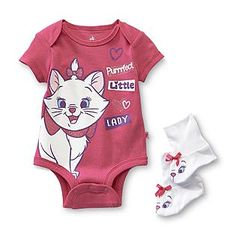 Disney Baby- -Aristocats Infant Girl's Bodysuit  Booties - Marie