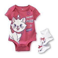 Disney Baby- -Aristocats Infant Girl's Bodysuit  Booties - Marie