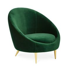Jonathan Adler Ether Chair is a Minimalist gesture. The capsule inspired silhouette provides surprising comfort, while golden brass stiletto legs project enough posh for a formal parlor. Elegant velvet (in Bergamo Ice Blue or Rialto Emerald Green) finishes off the fabulousness. Perfect as a pair or tucked in a corner to a cocoon-y yet refined library reading nook.