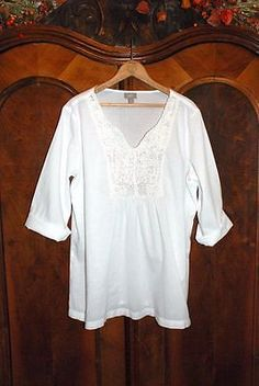 J. JILL.....Crisp White Cotton Crochet Yoke Hippie Bohemian Summer PEASANT