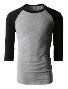 ff00c0daf LE3NO Mens Soft Triblend 3 4 Raglan Sleeve Baseball T Shirt. Camisetas De Manga  LargaMangas ...