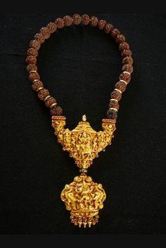 Important ritual Gowrishankram necklace or Rudraksha Mala, Tamil Nadu, Community Chettiar 18th century