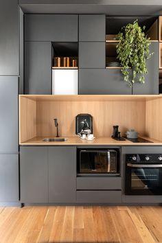 Minimal Kitchen Design, Kitchen Room Design, Minimalist Kitchen, Interior Design Kitchen, Kitchen Decor, Loft Kitchen, Studio Kitchen, New Kitchen, Kitchen Pantry