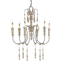 "Hannah Small Chandelier Currey & Company Stockholm White/Rust 6 Light - Wrought Iron and Wood 1 Tier 33""Wx41""Hx33""Diameter"