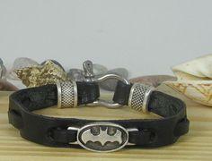 EXPRESS SHIPPING Men's Leather bracelet Batman bracelet