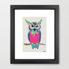 Colorful Owl Framed Art Print by Kamikire - $35.00