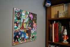 """Disney's Alice in Wonderland 12"""" x 12"""" Collage Canvas Wall Art with Metallic Rose Gold Trim by CuriousImpossible on Etsy"""