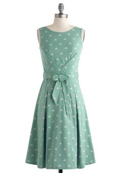 Modcloth Just Bike Starting Over Dress in Green