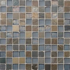 "Oceanside Glasstile...Collection Name: Geologie...Color Components: ...Glass: Fleet Blue Irid, Fleet Blue Matte...Slate: California Gold...Item Description: 1"" x 1"" Slate and ...Item Description: Glass Mosaic Blend...Square Feet Per Sheet: 0.96...Sheet Size: 11 3/4"" x 11 3/4""...Thickness: .24""...Sample Item Number: 57772"