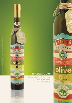 Colorfull olive oil packaging