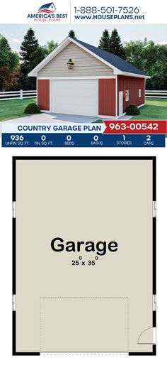 Complete with 936 sq. ft., Plan 963-00542 details a Country garage for 2 cars. #garage #garageplan #architecture #houseplans #housedesign #homedesign #homedesigns #architecturalplans #newconstruction #floorplans #dreamhome #dreamhouseplans #abhouseplans #besthouseplans #newhome #newhouse #homesweethome #buildingahome #buildahome #residentialplans #residentialhome Best House Plans, Country House Plans, Dream House Plans, Dormer Windows, New Construction, Building A House, Architecture Design, New Homes, Garage