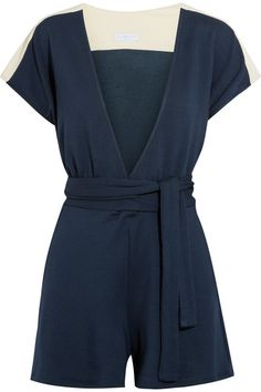 Flagpole - Francine Jersey-trimmed French Terry Playsuit - Storm blue - medium