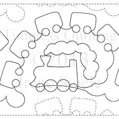 "Locomotives - Paper - 12"" - Quilts Complete - Continuous Line Quilting Patterns"