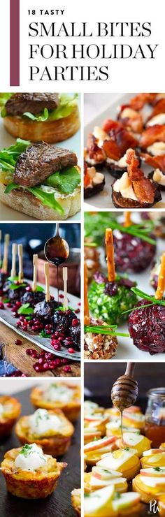 Here are 18 small bite recipes, from appetizers to desserts, that guests will love at holiday parties. Get all the tasty recipes here. #smallbites #holidaypartyfood #holidayparty #christmas #christmasappetizers #holidayappetizers #christmasparty #holidayparty