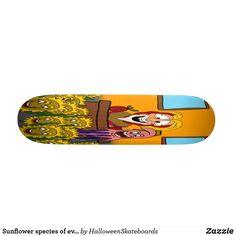 Sunflower species of evil skateboard Skateboards For Sale, Artwork Design, Hard Rock, Printing Process, Hard Rock Music