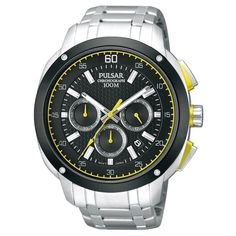 Pulsar Men's PT3393 Chronograph Dial Yellow Accent Watch