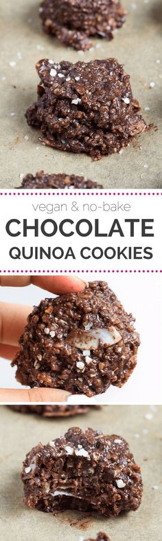 Loving these NO-BAKE chocolate quinoa cookies - they're healthy and delicious | recipe on http://simplyquinoa.com | vegan + gluten-free