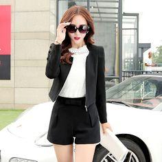 Women Business Suits , Shorts with Casual Blazer  Plus Size XXL Plus Size XXL