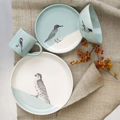 Nest together. This dinnerware is a result of our collaboration with SKT Ceramics, a Brooklyn-based pottery studio known for its screenprinted porcelain pieces. Each of these dinnerware pieces features a different delicate bird. Ceramic Tableware, Ceramic Pottery, Kitchenware, Ceramic Decor, Pottery Art, Diy Sharpie, Sharpie Plates, Pottery Painting, Ceramic Painting