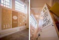 Large scale laser cut wood veneer wall pieces and five metre high wheeled siege tower / chalet / dragster.Conceived and produced in collaboration with Michael Marriott.Exhibited in the Biscuit Building, London (2009)