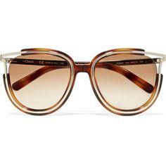 9e1e6e26357f Chloé Jayme cat-eye gold-tone and acetate sunglasses Chloe Glasses, Cat Eye