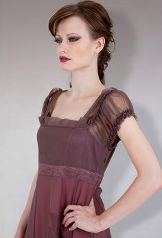 40096 Charcoal/Berry Empire Dress, $184
