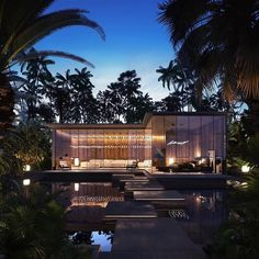 Villa in Bali visualization by Federico Repetto Tools used: Autodesk Max Tropical Architecture, Residential Architecture, Modern Architecture, Architecture Portfolio, Minimalistic Lifestyle, Home Interior Design, Exterior Design, Plant Night, Bungalow