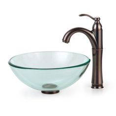 Kraus C-GV-101-14-12mm-1005 Clear Glass Vessel Sink and Riviera Faucet - C-GV-101-14-12MM-1005
