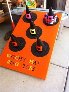 """Pinner wrote, """"My parents made this awesome ring toss game for Halloween!"""" ~ Gre… Pinner wrote, """"My parents made this awesome ring toss game for Halloween!"""" ~ Great CARNIVAL or FALL FESTIVAL GAME! Halloween Carnival Games, Casa Halloween, Halloween Class Party, Halloween Tags, Halloween Festival, Holidays Halloween, Funny Halloween, Preschool Halloween Party, Halloween Games For Preschoolers"""