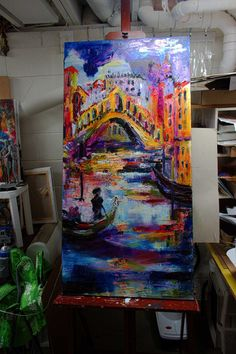 Italy Venice Rialto Bridge Large Impressionist Original Oil Painting by Ginette Callaway , Original Painting - Ginette Fine Art, The Art of Ginette Callaway - easel