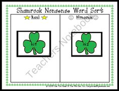 Shamrock Nonsense Word Sort product from Can-You-Read-It on TeachersNotebook.com
