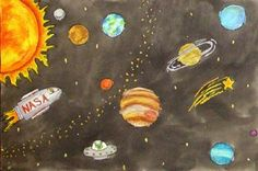 Draw planets and sun in crayons, paint over with black watercolor