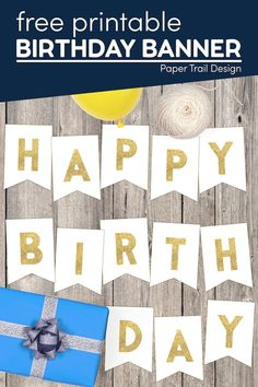 Use these free printable gold happy birthday banner letters to decorate for the next birthday party in your home. Happy Birthday Banner Printable, Printable Banner, Happy Birthday Banners, Party Printables, Free Printable, First Birthday Parties, First Birthdays, Party Themes, Party Ideas